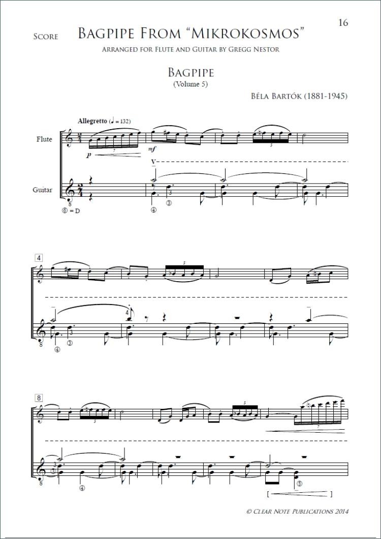 Sonatine and Bagpipe by Béla Bartók for Flute and Guitar