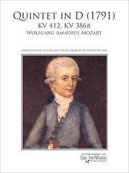 Quintet in D KV 412 for Guitar and String Quartet by Wolfgang Amadeus Mozart